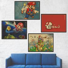 Juego de Super Mario Poster decoración de la habitación del chico Retro Kraft papel vintage poster pegatina de pared