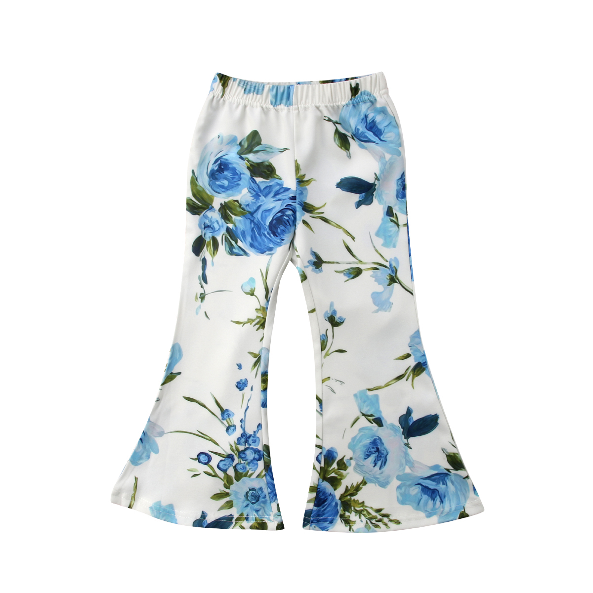 Kids Baby Cute Girls Blue Color Print With Flowers Boot Cut Newest Style Loose Fashion Flare Pants 2-7Y