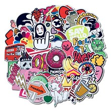50PCS girls literary trolley case sticker cute waterproof pink personality guitar skateboard graffiti car stickers