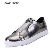 Male Slip on Skateboarding Shoes Gold Silver Men's Sneakers Comfortable Cloth Shoes Men Student School Sport Boy Shoes