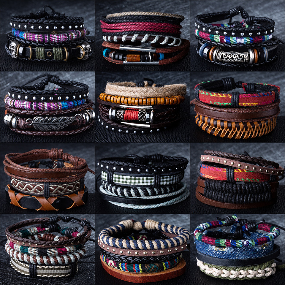 12 Style Metal Leather Bracelets Men Jewelry Vintage Classic Retro Plant Charm Bracelet Bangles Homme Male Jewellry 20.5CM