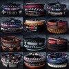 12 Style Metal Leather Bracelets Men Jewelry Vintage Classic Retro Plant Charm Bracelet Bangles Homme Male Jewellry 20.5CM