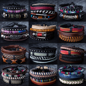 12 Style Metal Leather Bracele