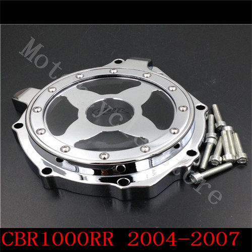 For Honda CBR1000RR CBR1000 2004 2005 2006 2007 CB1000R 2004-2012 Motorcycle Engine Stator cover see through Chrome Left side aftermarket free shipping motorcycle parts engine stator cover for honda cbr1000rr 2004 2005 2006 2007 left side chrome