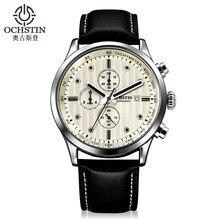 c132f9b14b2 OCHSTIN marca dos homens de negócios de Couro Genuíno relógios de pulso  Cronógrafo à prova d  água calendário de luxo homem reló.