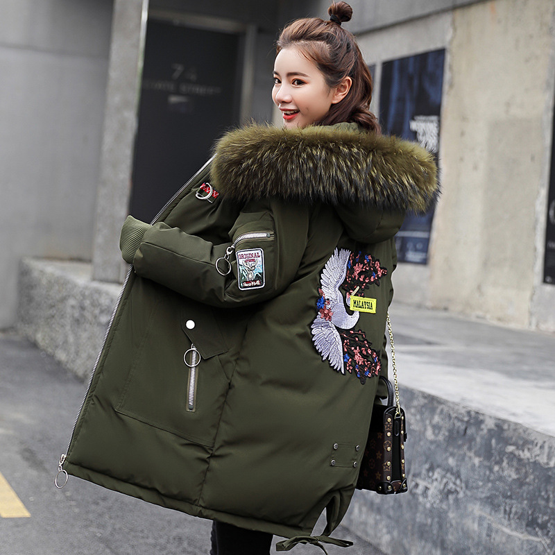 Women Winter Jacket Fur Collar Hooded Female Embroidery Coat Loose Cotton Padded Jacket Winter Coat for Pregnant Women Parkas