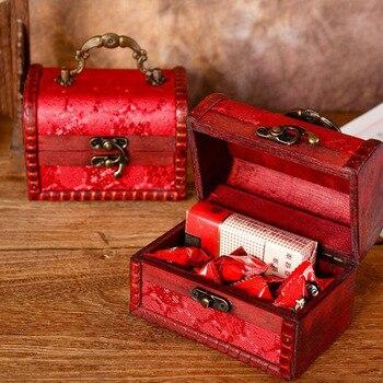 Decorative Trinket Jewelry Storage Box Handmade Vintage Wooden Treasure Case Retro Double Happiness Organizer Cases