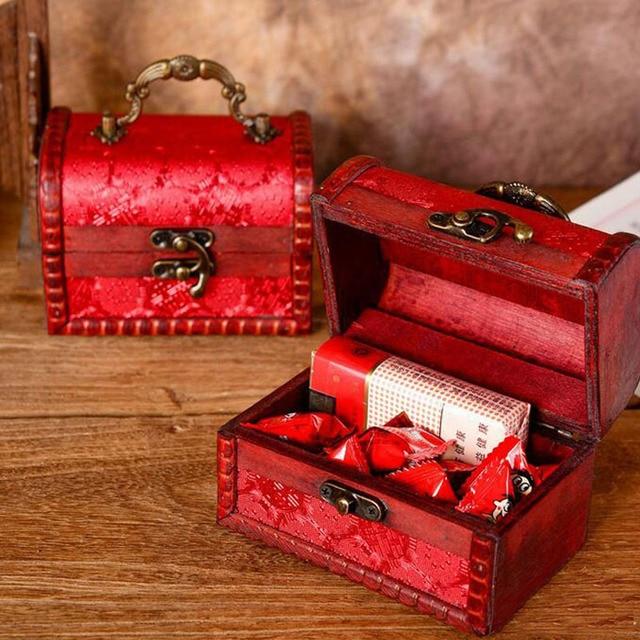 Decorative Trinket Jewelry Storage Box Handmade Vintage Wooden Treasure Case Retro Double Happiness Organizer Cases ZA3796