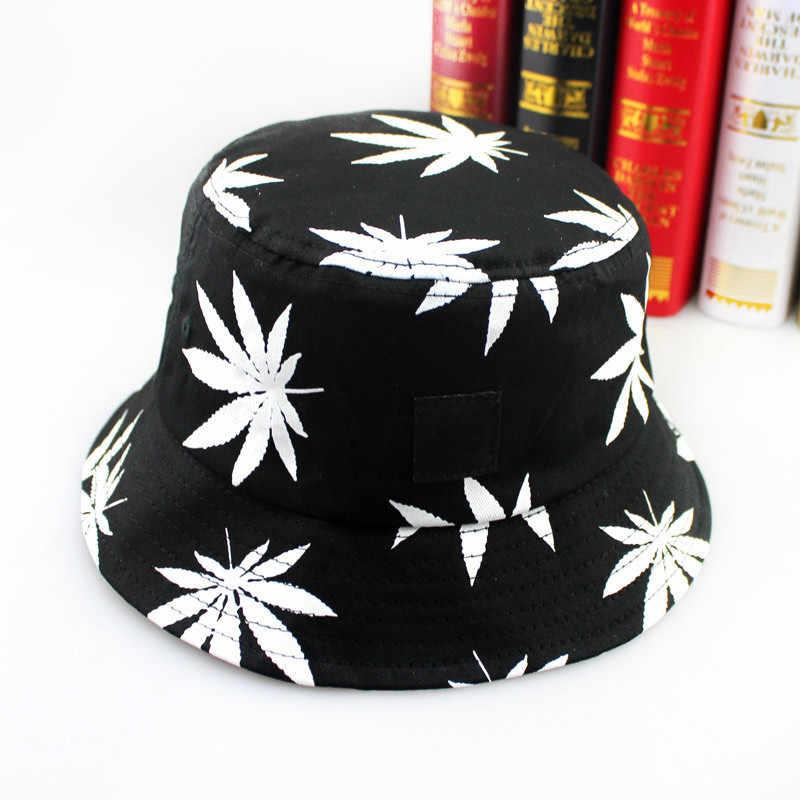 5bf04e3b4c6 ... Free Shipping 2018 New Fashion Hip Hop Green White Leaf Print Fishing  Caps Weed Bucket Hats