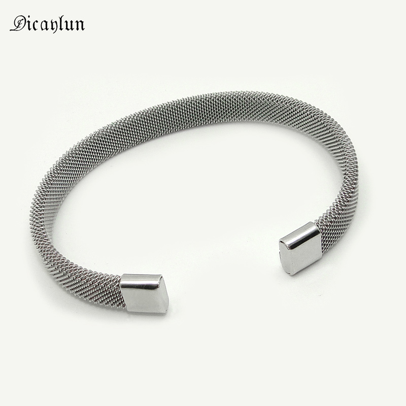 DICAYLUN Stainless Steel Mesh Bracelet Bangle 8mm Adjustable Silver Grey Men's Open Cuff Jewelry Accessories Gifts Wholesale