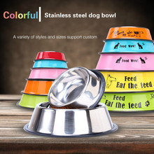 Pet food set stainless steel dog bowl senior pet teddy golden size