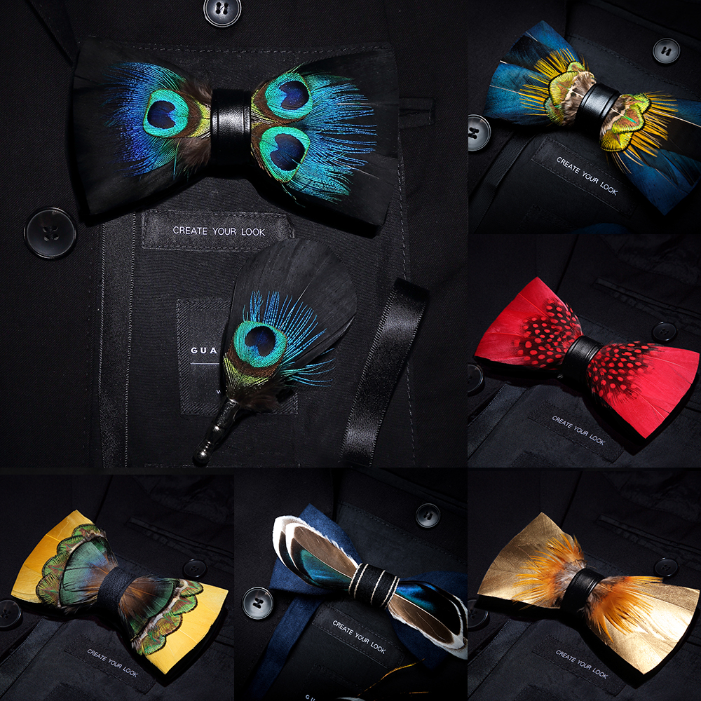 KAMBERFT Brand Men Bow-tie Brooch Set Feather Style Leather Bow Tie Adjustable Formal Tie Bowtie Wedding Party Best Gift