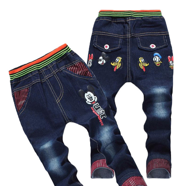 New Korean 3D Pocket Baby Boy Mickey Applique Bottoms Girls Kids Washed Jeans 20150829x2