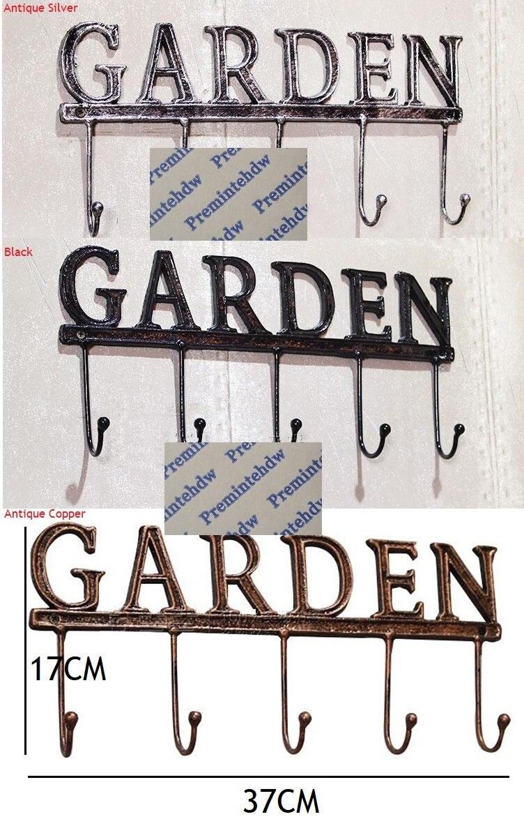 Rétro vintage antique fer placard manteau chapeau écharpe sac 5 crochet crochets jardin mur affichage rack tissu dressing boutique