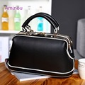 2017 New Design Women Doctor Bag Handbag Female Leather Tote Bags Brand Ladies Small Messenger Bags Vintage Black White Handbags