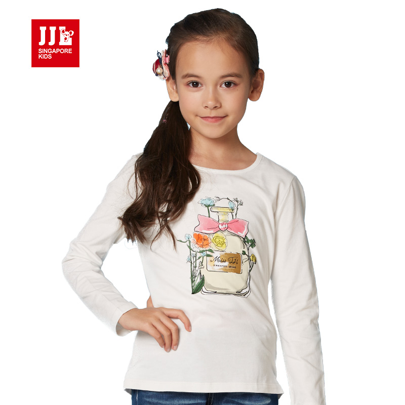 2016 fall girls t shirt design girls tshirts print kids tees children clothing girls clothes size 6-15t children clothes