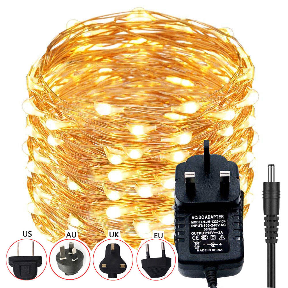 10m 20m LED DC12V Micro Rice Wire Copper Fairy String Lights Party Warm White/Blue/RGB+ 12V 2A/1A UK/EU/AU/US Power adapter