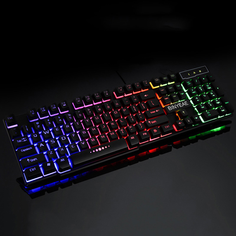 Wired Gamer Gaming-Keyboard Mechanical-Feel Backlit Floating LED English USB Teclado