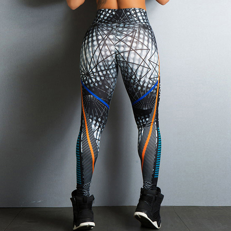 2018 Geometric Lines Printing Leggings Put Hip Elastic High Waist Legging Jeggings Women Legins Trousers Breathable Slim Pants(China)