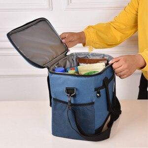 Image 1 - Вместительный ланч мешок, водонепроницаемая изолированная Термосумка для женщин и мужчин, контейнер для еды для пикника, Ланч бокс