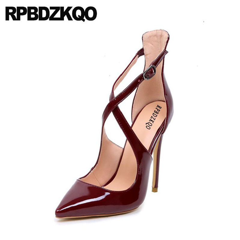 High Heels 12cm 5 Inch Us Size 13 Ladies Shoes Cross Strap Thin Pumps Wine  Red 45 Pointed Toe Big Extreme Patent Leather Fetish 98708d7a0b55