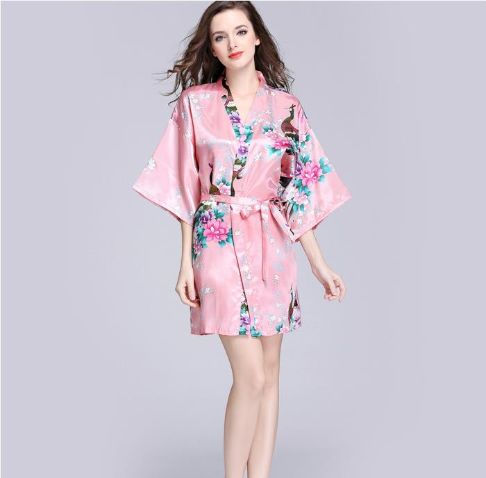 7439584ec6 Women's Satin Silk Woman Lace Robe Female Lace Bathrobe Womens Robes  Sleepwear Ladies Sexy Robe For