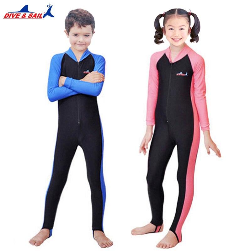 UPF50+ Lycra Long Sleeved Dive Skin Suit Kids Wetsuit Boy Girl Child Surf Stinger Wet Suit Rash Guards Snorkeling Swimwear