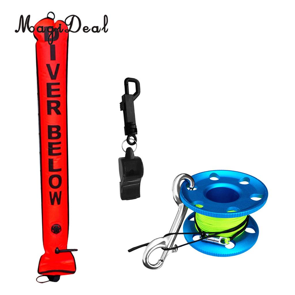 MagiDeal 4ft Orange Scuba Diving Safety Sausage SMB Surface Marker Buoy 30m Dive Reel Guide Line
