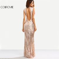 COLROVIE Rose Gold Sequins Maxi Party Dress Cut Out Back Women Mermaid Summer Dresses 2017 Fashion
