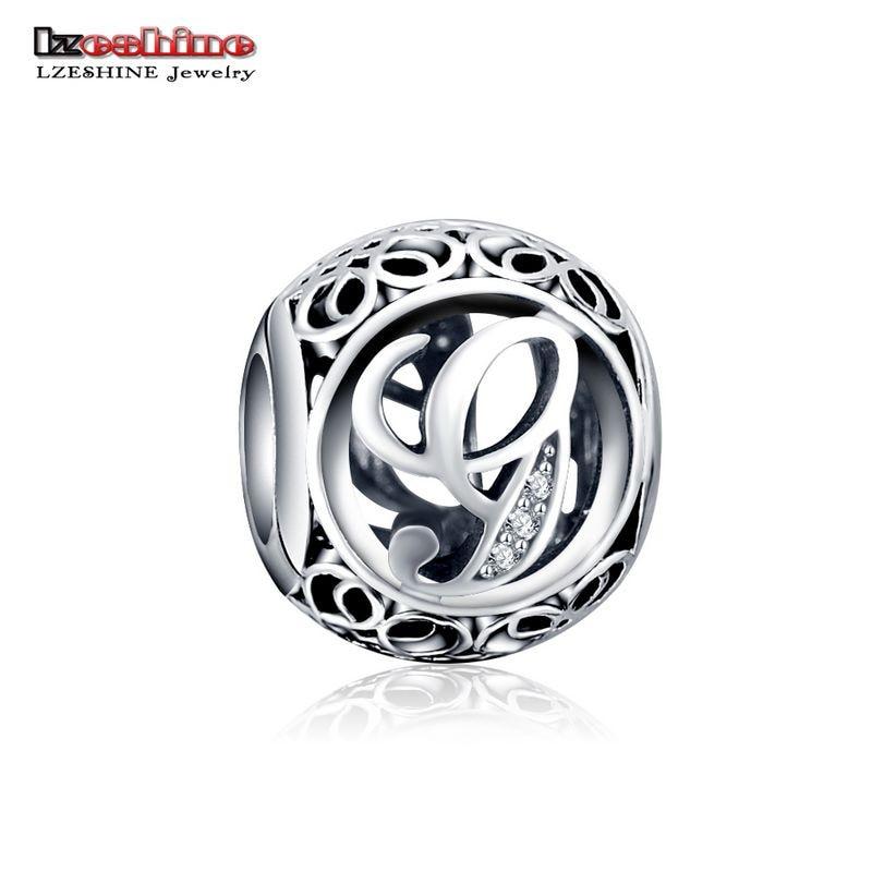 LZESHINE 100% Authentic Sterling Silver 925 Crystal Alphabet Letter A-Z Bead Charm Fit Original Pandora Charm Bracelet PSMB0634 8