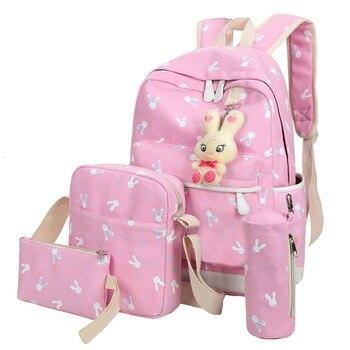 4Pcs/Sets 2018 Women Backpacks Cartoon Rabbit Printing Canvas Schoolbags for Teenage Girls Students Children Mochila Feminina