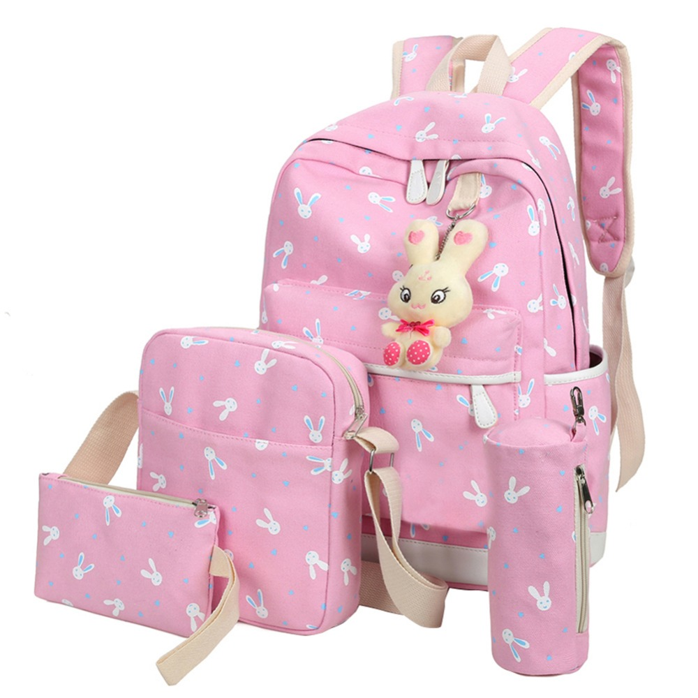 4pcs/sets Women Backpacks Cartoon Rabbit Printing Canvas Schoolbags For Teenage Girls Students Children Mochila Feminina
