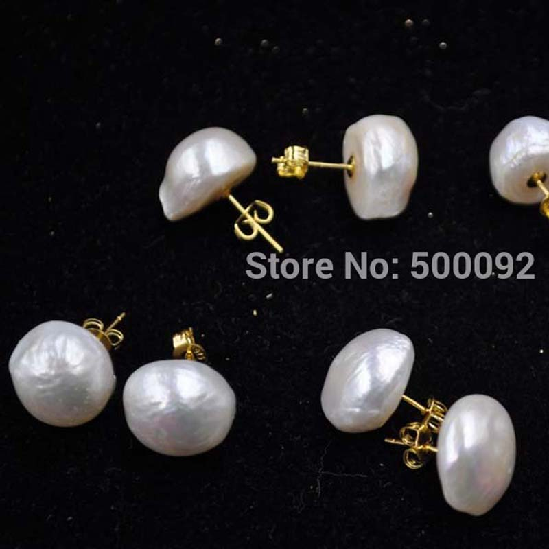 13 14mm On Half Round Furrow Pearl Earring Studs S925 With Golden In Stud Earrings From Jewelry Accessories Aliexpress Alibaba Group