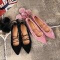 Bola de pele de camurça sandálias de tiras cruzadas sapatos rendas de todos os match apontou ballet flats