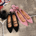 Suede fur ball cross strappy sandals shoes lace all-match pointed ballet flats