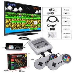 Super mini hd família tv 8 bits snes vídeo game console retro clássico hd hd saída tv jogador de jogos handheld built-in 621 jogos