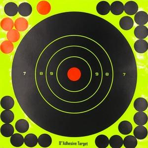 Image 5 - 10 قطعة ترشيش ذاتية اللصق 8 بوصة أهداف ملصقات بمادة لاصقة الفلورسنت الأصفر للبنادق بندقية الهواء الهدف ممارسة اطلاق النار