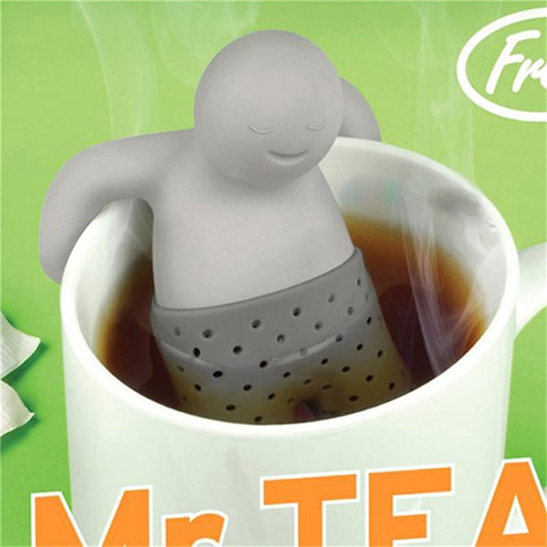 Funny New Tea Infuser Filter Teapot Teabags for Tea & Coffee Mr.Tea Infuser Silicone Tea Leaf Strainer Herbal Spice Filter