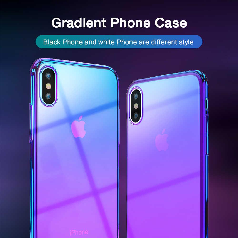 f06b1c0ee85 ... Funda para teléfono RAXFLY para iPhone X cubierta de gradiente de  chapado para iPhone XS Max ...
