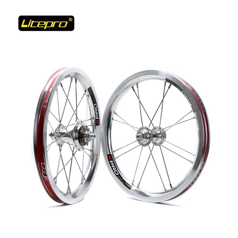 Folding Bike Wheel Set 14 inch 16-20H 4 Bearing Hub Professional Folding Bicycle Refiting Wheel Litepro