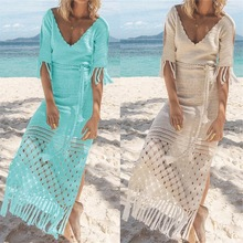 Womens Beach Wear Kimono Cover up Swimwear Bikini Crochet Tassel Long Maxi Dress