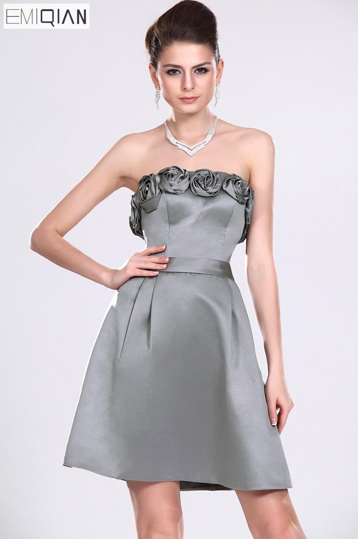 Freeshipping Strapless A Line Formal Wedding Party Dress Short Gray Satin Bridesmaid Dress