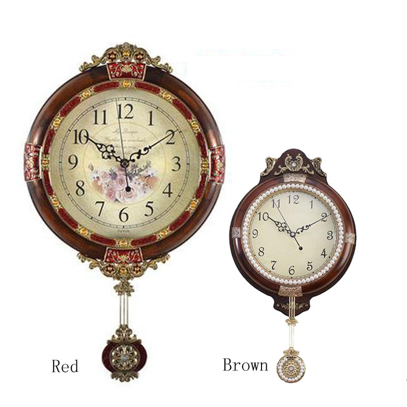 New Arrive Free Shipping Solid Wood Brown Single Face Wall Clock Vintage French Home Decor Large Decorative Pendulum In Clocks From Garden