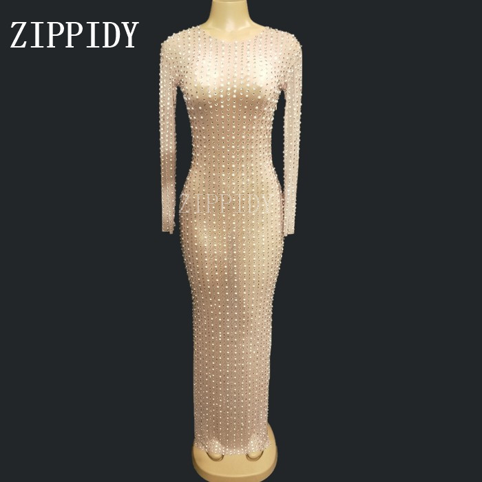 Sparkly Rhinestone Pearls Mesh Perspective Dress Evening Party Long Dresses Birthday Celebrate Costume Performance Dress YOUDU