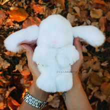 Pop Genuine Rabbit Fur Bunny Keychain Women Trinket Pompom Bag Charms Hare Keyring Pompon Key Chains Ring Jewelry Gift