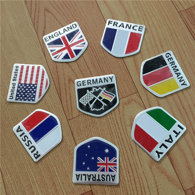 100X 3D Alu car Flag stickers American Italy Russia France Germany England Australia Badge Emblem Decal