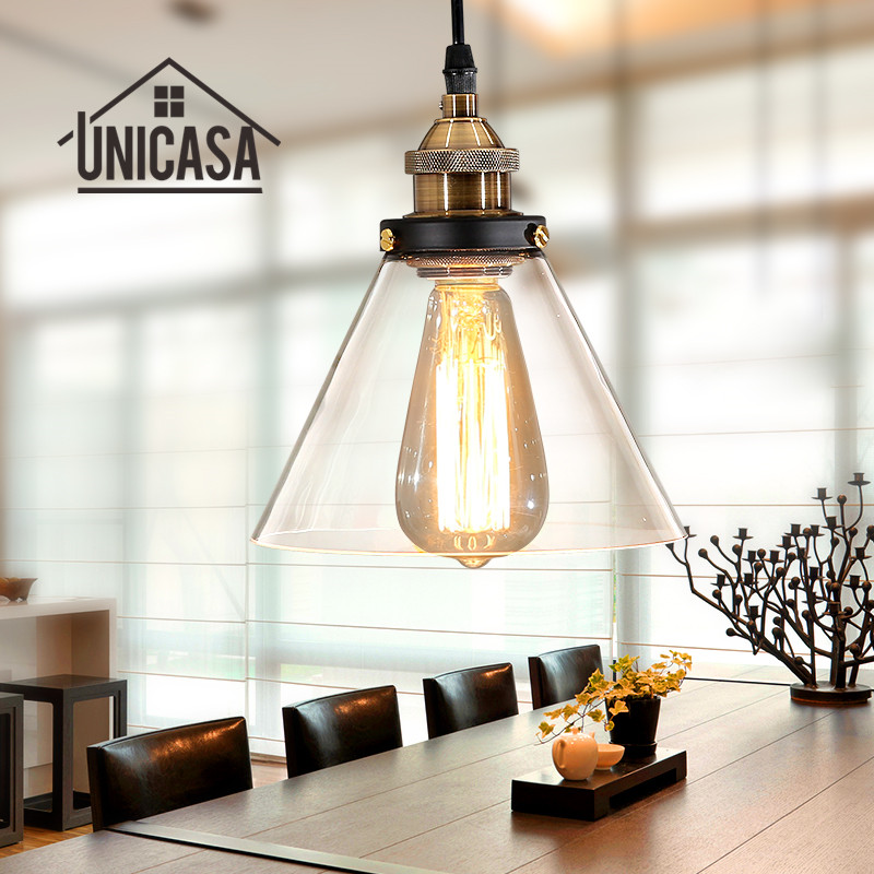 Us 29 82 48 Off Mini Pendant Lights Vintage Industrial Clear Glass Shade Lighting Fixtures Modern Kitchen Island Office Hotel Led Ceiling Lamp In