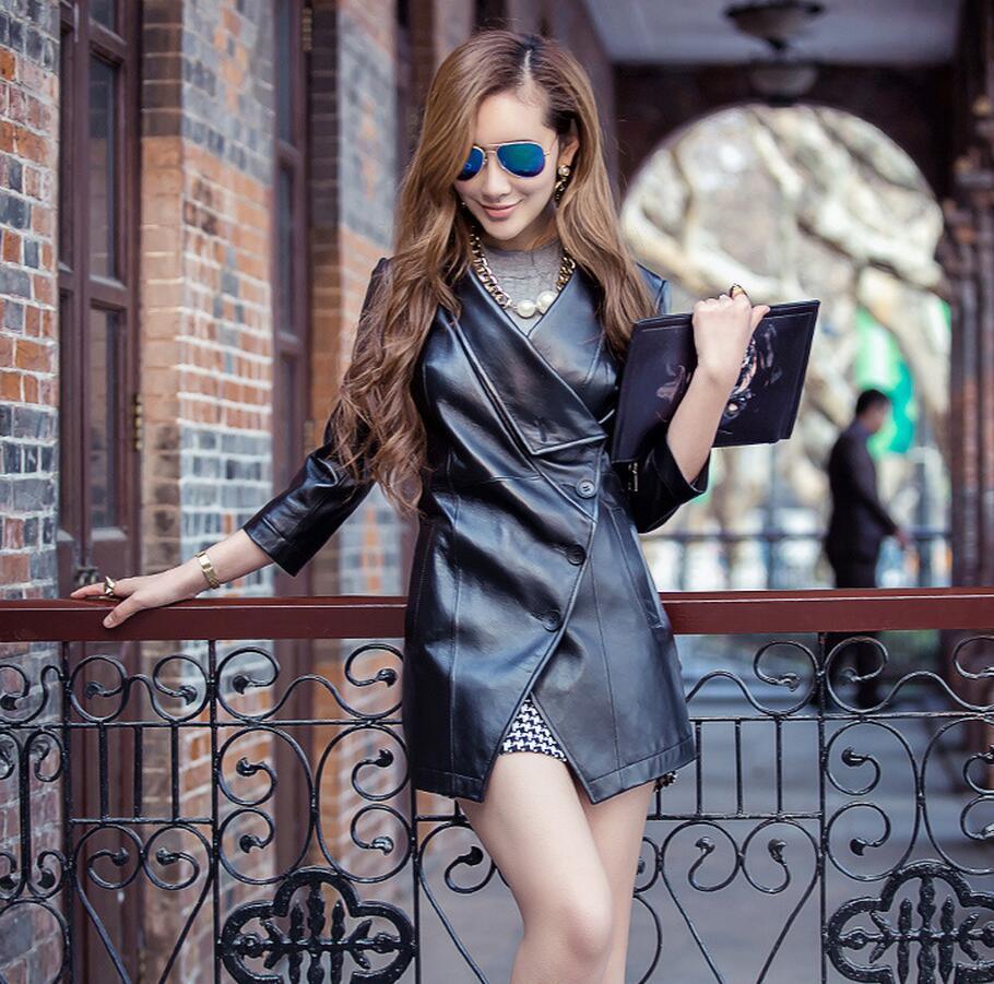 Cuir Faux 3xl V Nouveau Automne La Femmes Veste S1024 Pu Manteau Longue cou En Plus Black Taille TwtgHq
