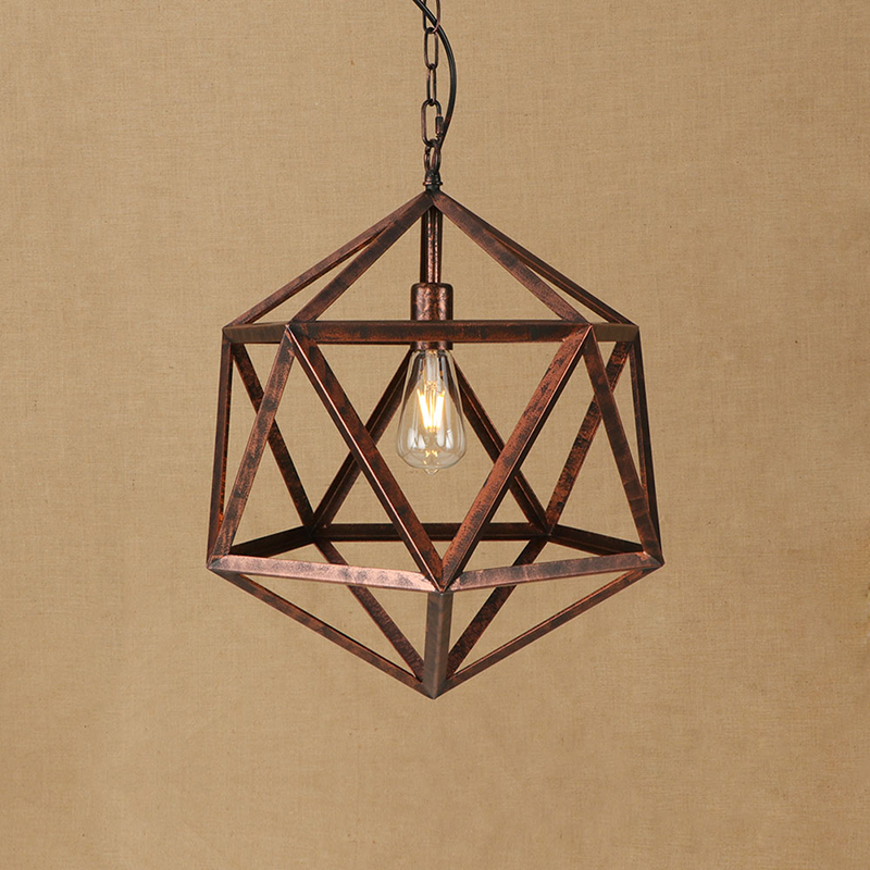 Vintage Polygon Iron Cages Rust Color LED Pendant Lights E27 110V 220V Hanging Lighting Fixture For Kitchen Living Room Bedroom