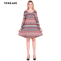 VOGRACE Christmas Style 3d New Fashion Women's Vintage Retro Striped Printing Dress Fish Dot High Waist Print Dress Casual Dress